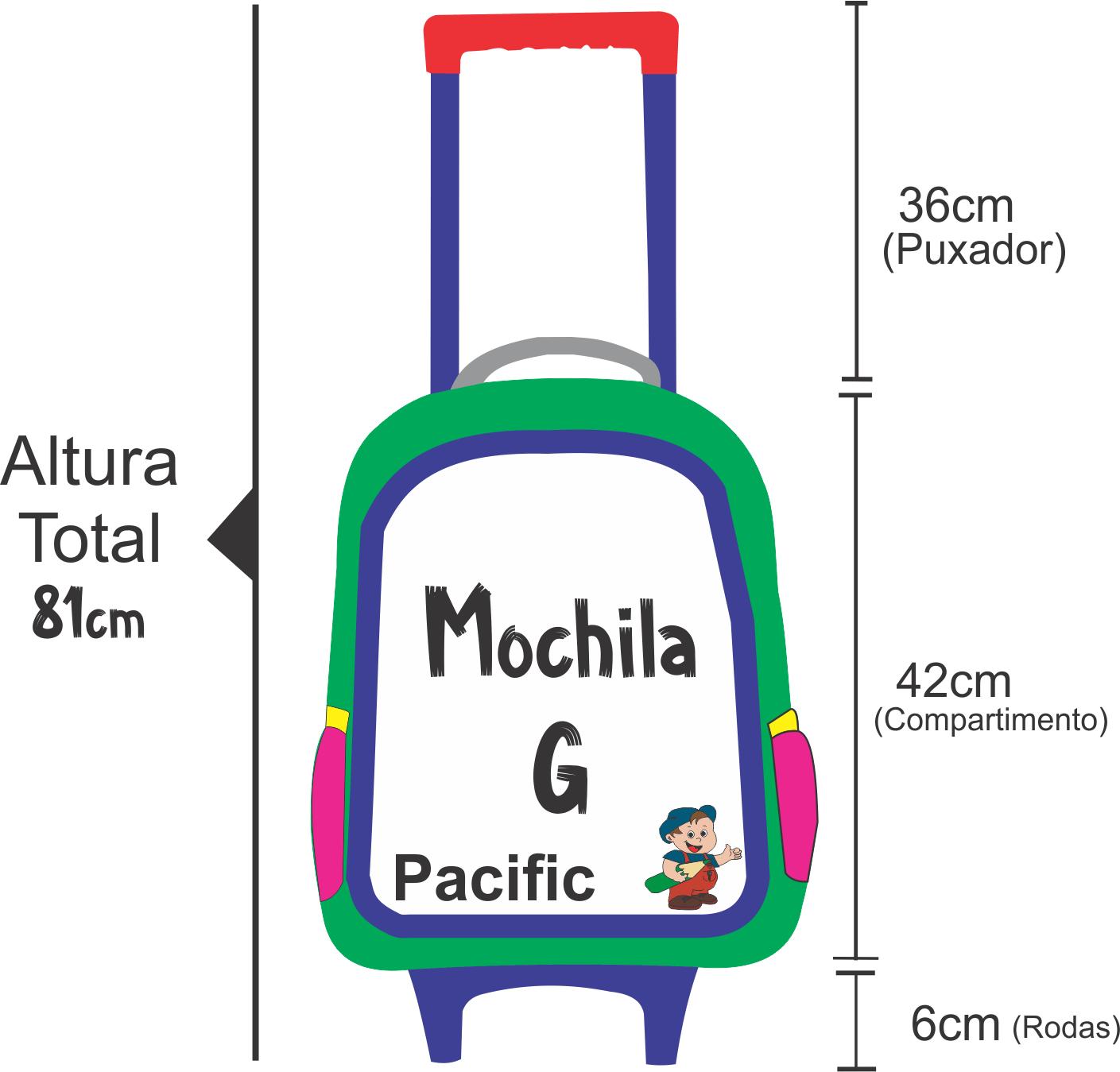 Medidas da altura da mochila de rodinha dos transformers