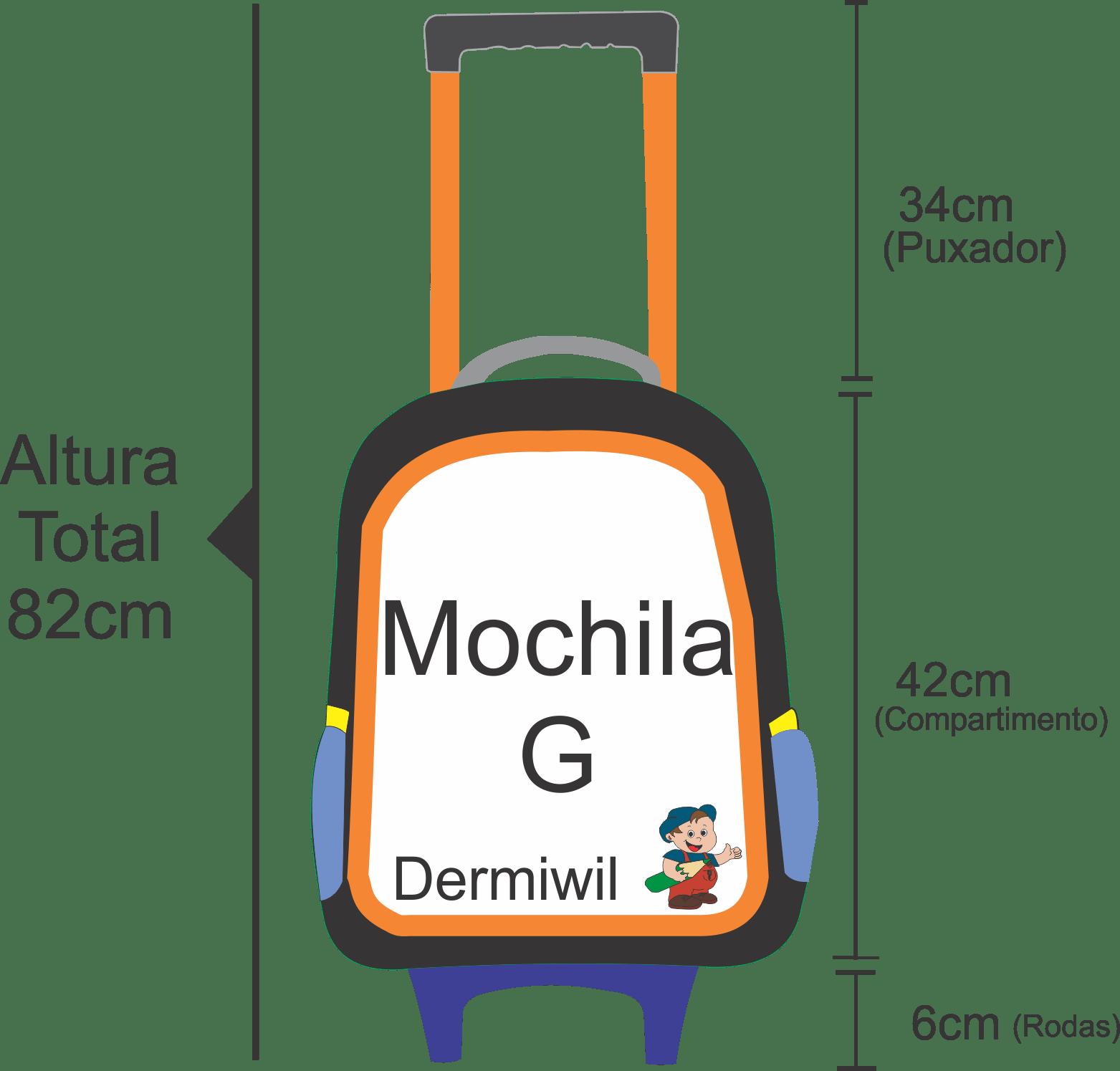 Medidas da Dimensão da mochila de rodinha feminina fofilhotes tamanho g feminina