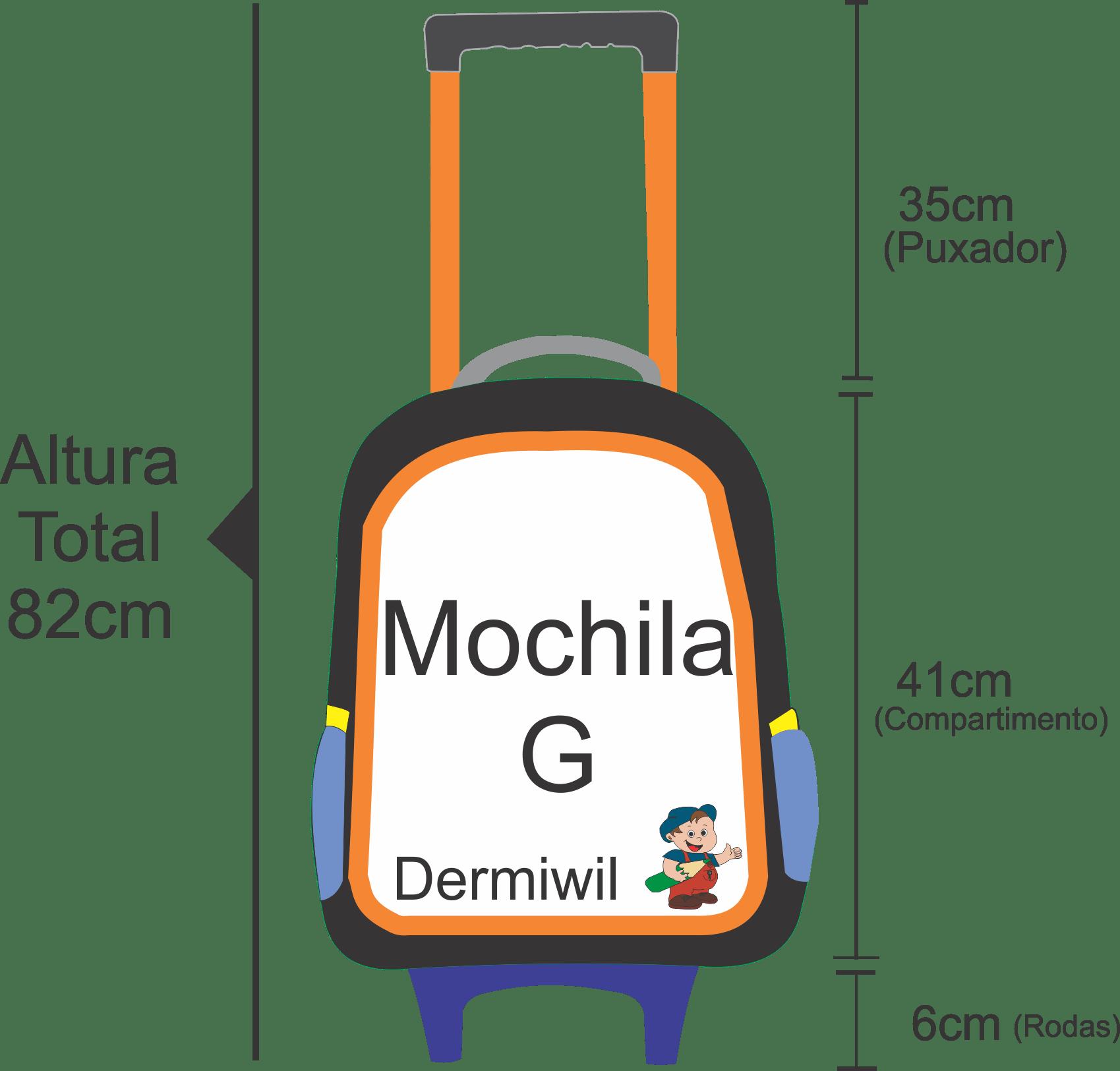 Medidas da altura da mochila da frozen