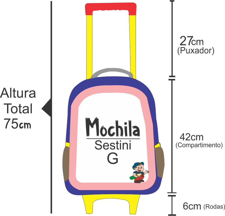 medidas da altura da mochila de rodinha de melancia sestini
