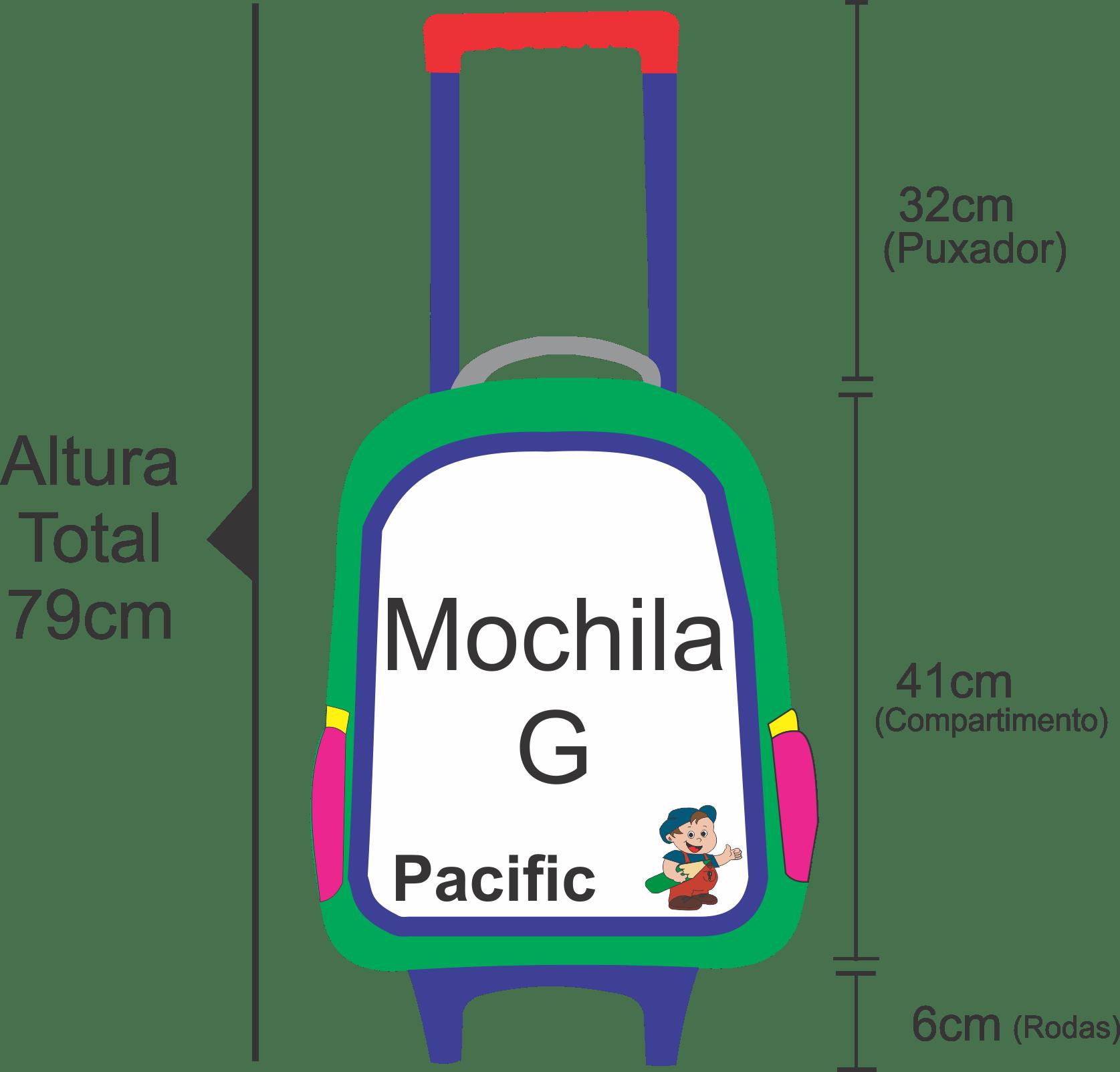 medidas da mochila Miraculous masculina verde