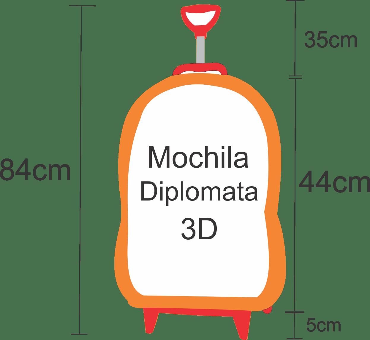 Medidas da Altura da Mochila com rodas da diplomata maxtoy