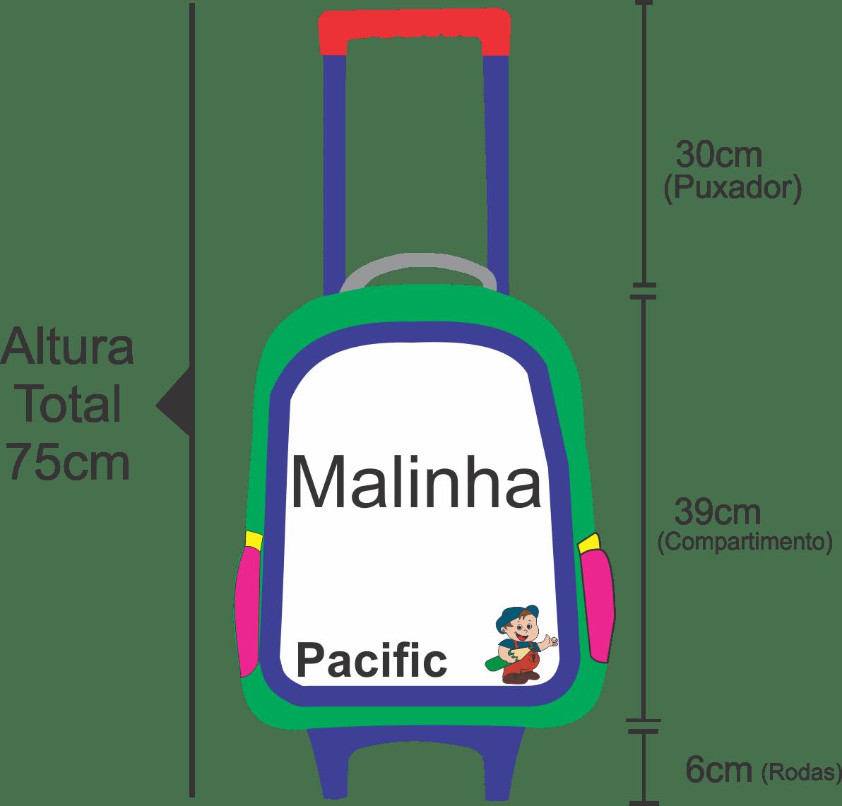 Medidas da altura da malinha Pacific