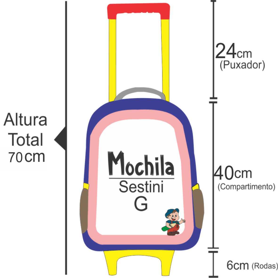 medidas da altura da mochila da minnie