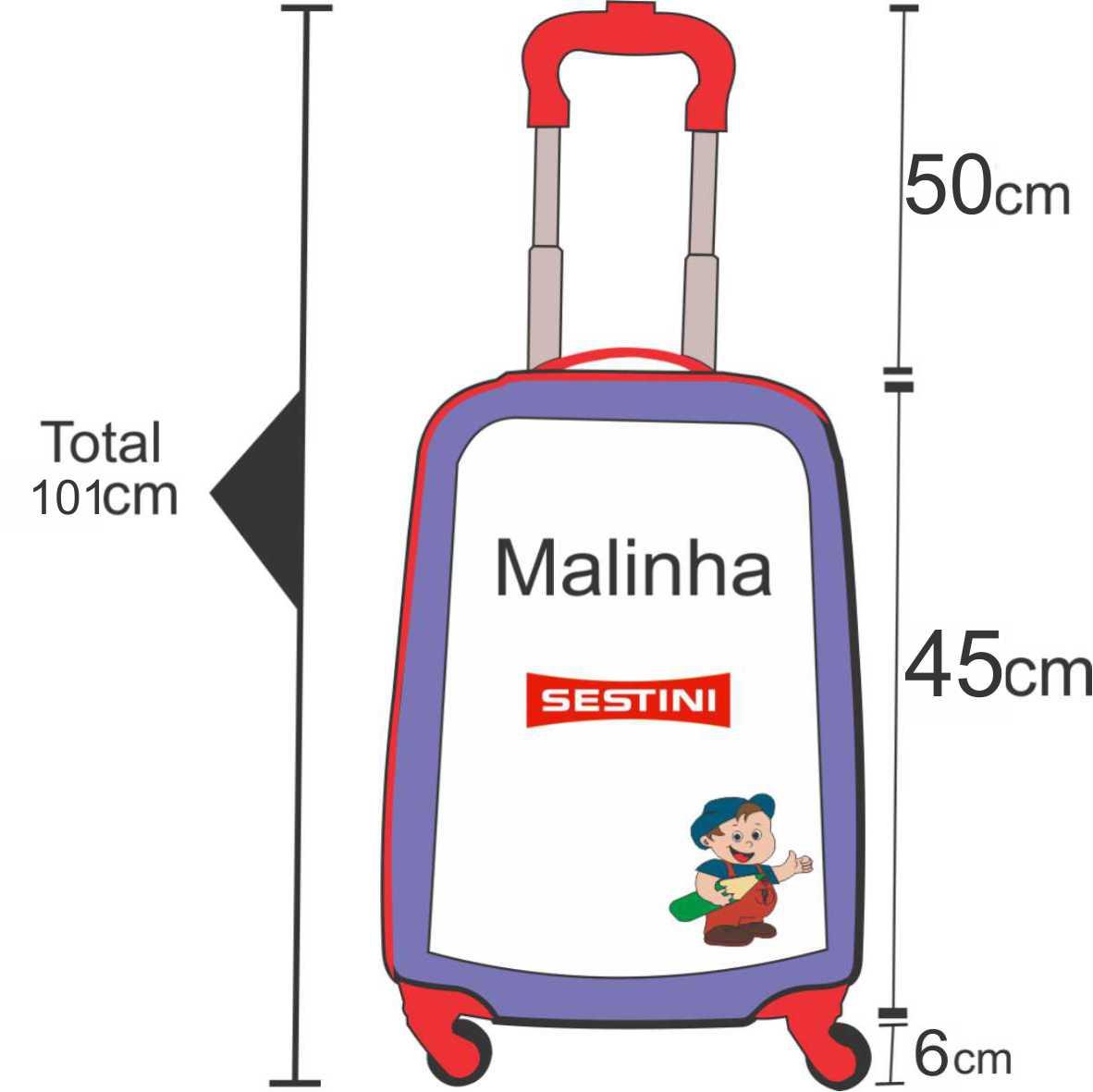 Altura da mala de bordo sestini  tamanho p