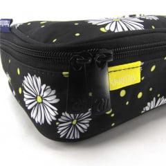 Estojo Box Capricho Necessaire Flores DMW 11841 Preto
