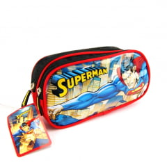Estojo Escolar Superman Preto Duplo ref EI31266SM Luxcel