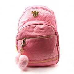 Mochila Capricho de Costas Feminina Love Pink com Pom Pom Coração DMW 11356