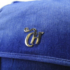 Mochila com Tampa e Zíper Capricho Jeans Patches DMW 11361
