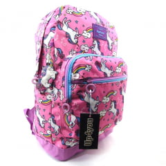 Mochila de Unicórnio e Arco-íris Up4you Collection Rosa Luxcel MS45578UP-PK