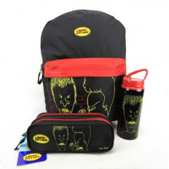 Mochila Beavis and Butt-Head Mtv Com Estojo e Squeeze Kit DMW 48553