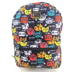 Mochila Container Cats com Estojo Elástico e Squeeze Dermiwil 37763