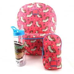 Mochila Container Hot Dogs com Estojo Elástico e Squeeze Dermiwil 37784