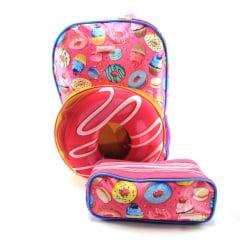 Mochila Donuts 3D Costas com Estojo Sestini 065729