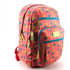 Mochila Up4you Abacaxi Costas Juvenil Rosa Luxcel MJ48644UP