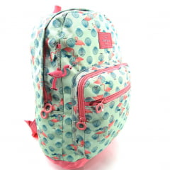 Mochila Up4you de Costas Flamingo Verde com Chaveiro Luxcel MS45702UP-VD