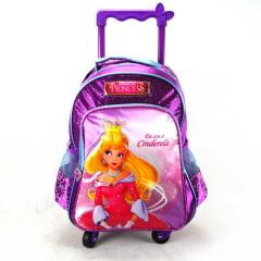 Mochila de Rodinha Cinderela Princesas Junior Elf Roxo 360 ref IC31832PR Luxcel
