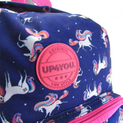 Mochila de Rodinha 360º Com Alça Unicornio Up4you e Estojo Luxcel MC51267UP-AZ