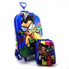 Mochila de Rodinha Jovens Titans Robin 3D Com Lancheira Diplomata Maxtoy 2952BM19