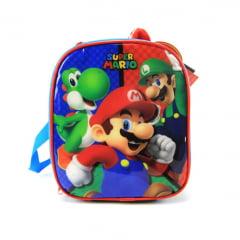 Mochila de Rodinha Super Mario com Lancheira e Estojo Kit DMW 11538