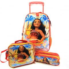 Mochila de Rodinha G Moana com Lancheira Térmica e Estojo Disney Dermiwil 37419