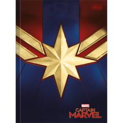 Caderno Brochura Capa Dura Universitário Capitã Marvel 80 Folhas Tilibra - Kit com 4 Unidades